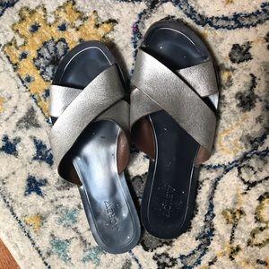 J. Crew size 10 silver wide-strap sandals